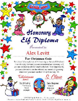 santa earn an honorary elf diploma for each game you play sample diploma shown half size